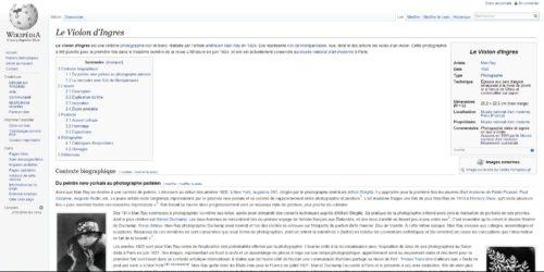 """Capture d'écran de l'article """"Le violon d'Ingres"""" après enrichissement lors du partenariat Wikimédia/Centre Pompidou"""