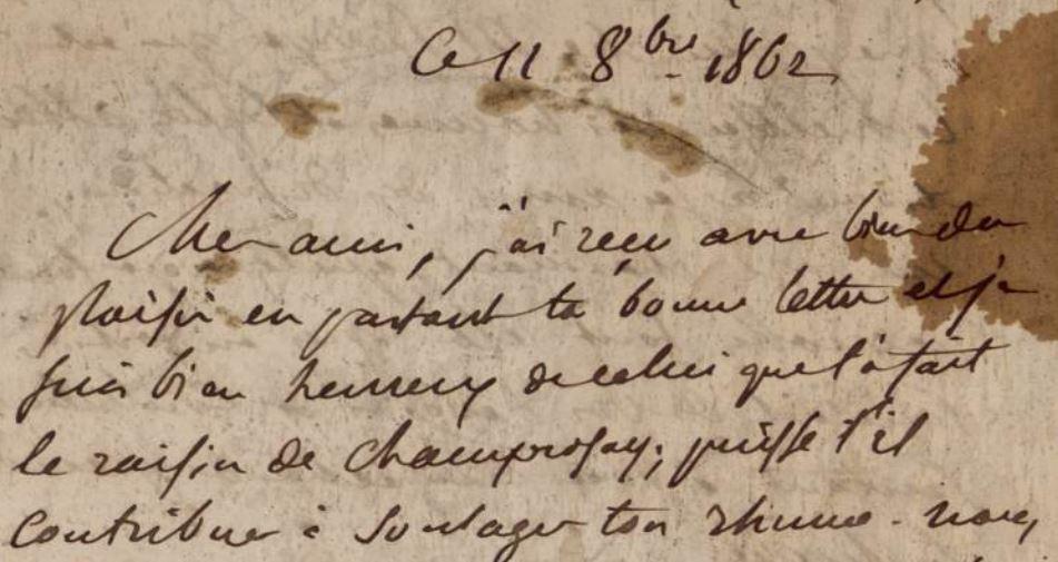Delacroix, lettre à Louis Guillemardet, du 11 octobre 1862, conservée à l'INHA
