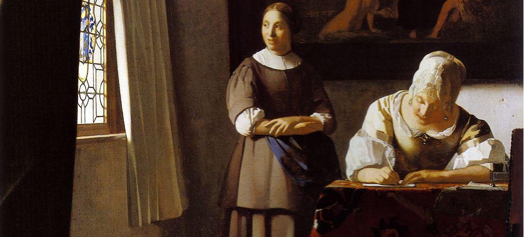 Vermeer, Jeune femme écrivant une lettre et sa servante, 1667