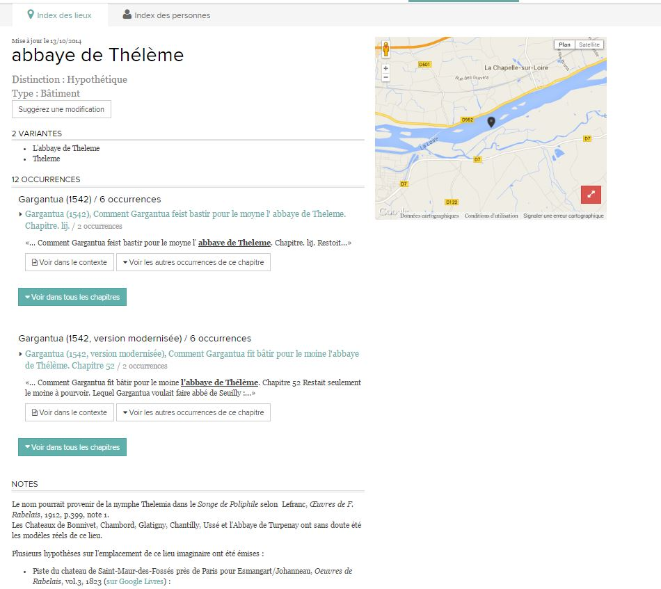 Cas de l'abbaye de Thélème : localisation hypothétique et sourçage.