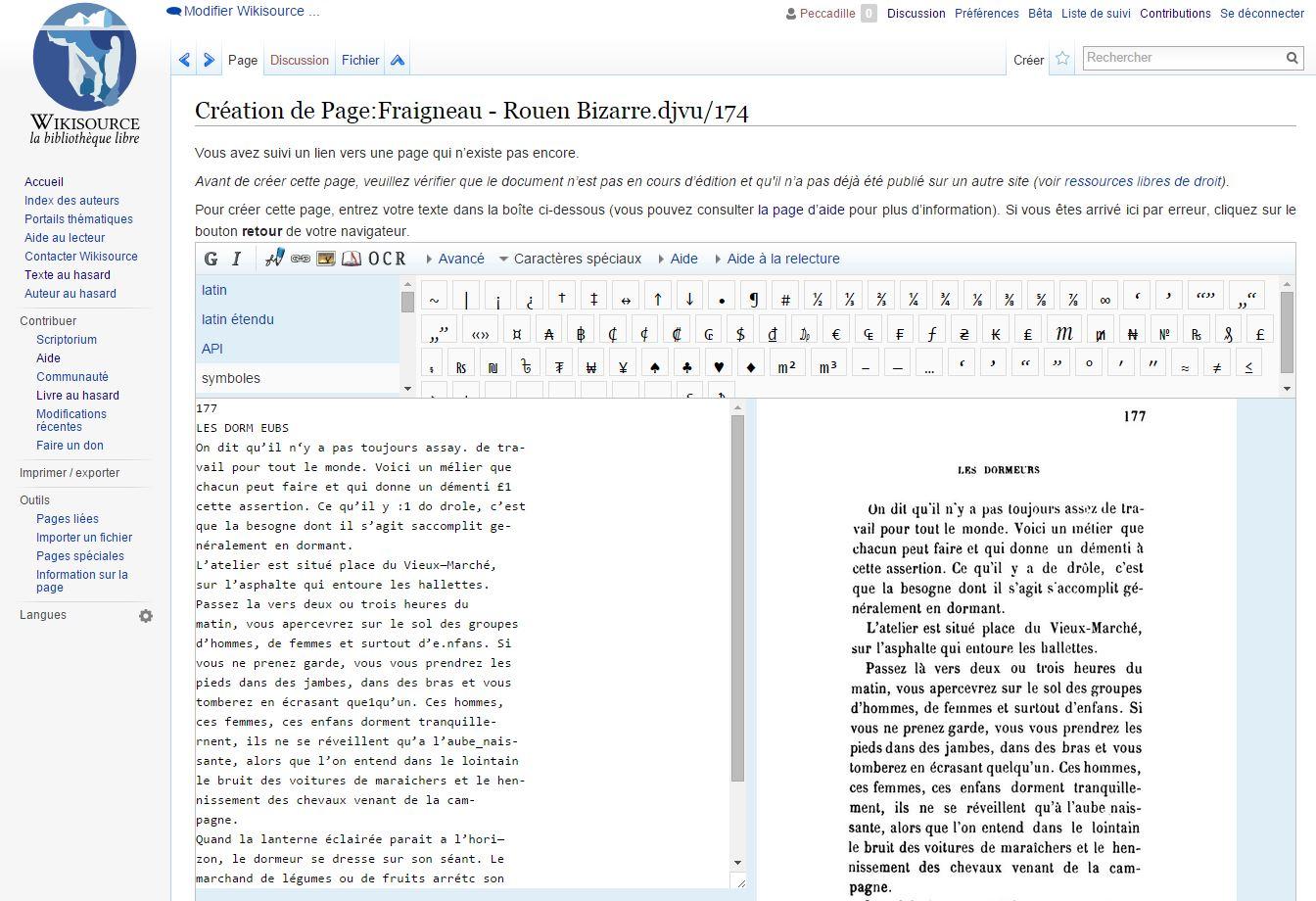 Correction de l'OCRisation (reconnaissance optique des caractères) dans Wikisource