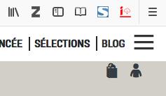 Le plugin IIIF s'allume en rouge pour me signaler qu'une image est disponible au téléchargement sur la page que je consulte